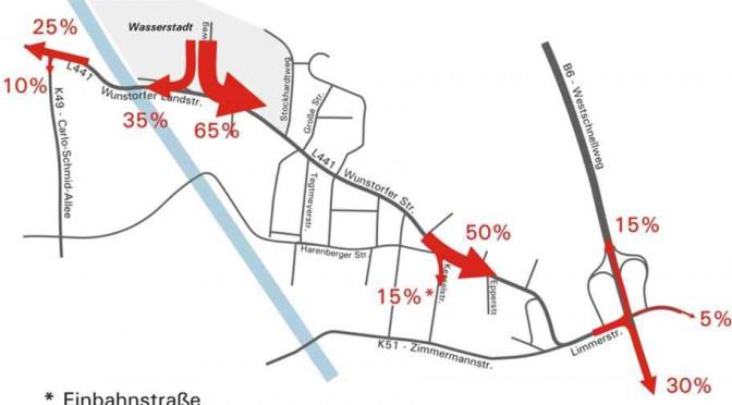 Detail aus dem Verkehrskonzept für die Wasserstadt.